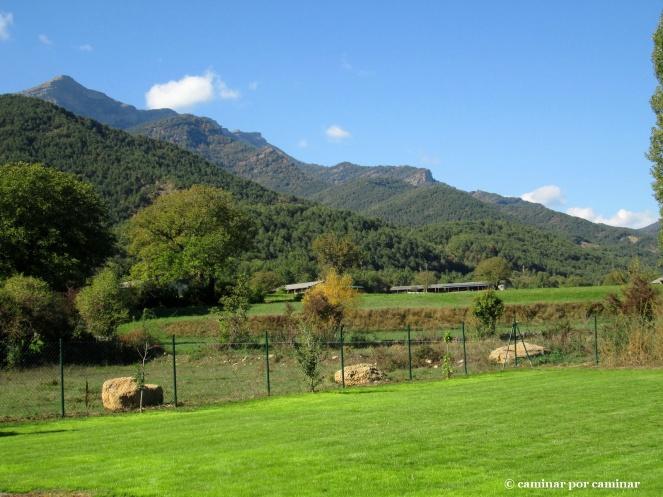 Recorriendo entre verdes el camino entre Ligüerre y Albella