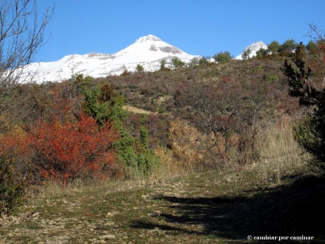 La blanca Collarada entre rojos, verdes y ocres en el camino que baja a Castiello